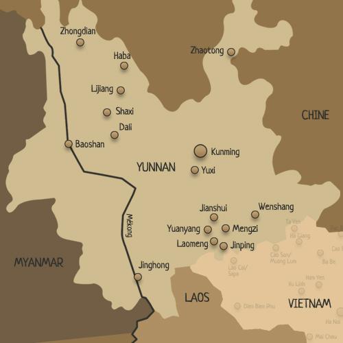 Carte du Yunnan et ses principales villes