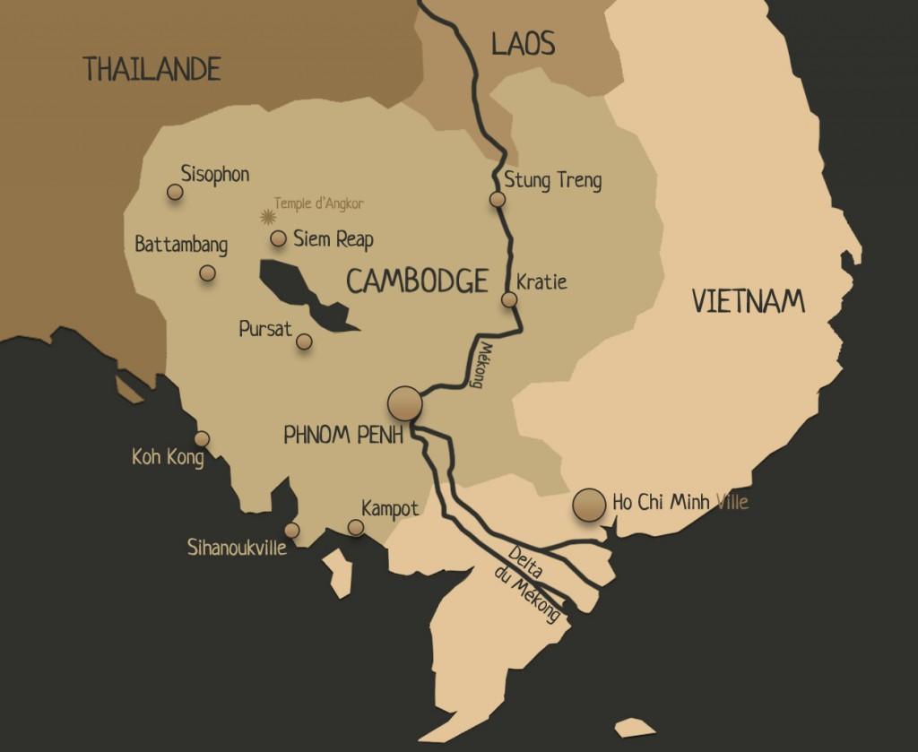 Carte du Cambodge, villes cambodgiennes